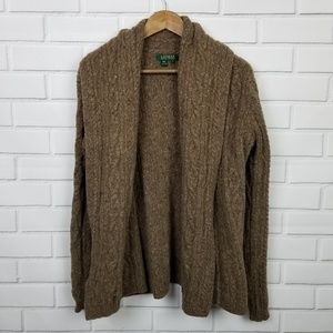 Lauren Ralph Lauren 100% Wool Brown Tweed Cardigan